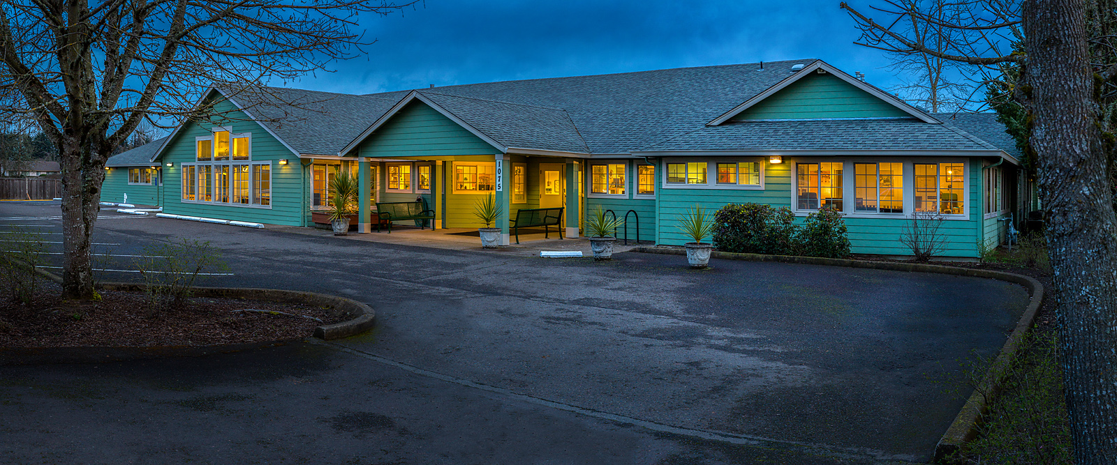 Holly Residential Care Center, front view at dusk